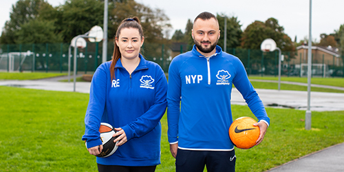 Two United Teaching trainees who are former Salford City Academy students